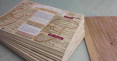stampa uv menu legno